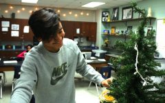 students helped decorate the art class to add some christmas spirit.