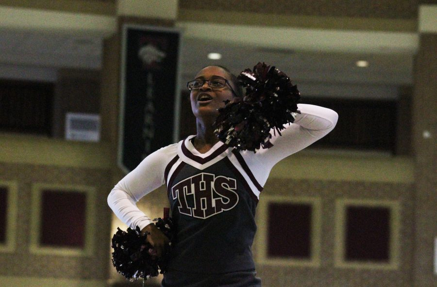Cheerleaders practice after school from 3-4:45. While Preparing for their first UIL competition, Senior Empress Corretjer, is ready to work hard.