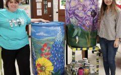Art Club Paints Rain Barrels for Silent Auction