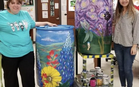 Art Club Paints Rain Barrels for Silent Auction