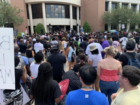 Students gather at Mansfield City Hall on June 6